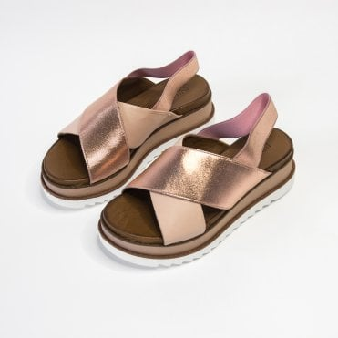 Inuovo Rose Gold Cross Strap Wedge With Ribbed Sole Rose Gold