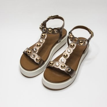 2ac6e1ee70ac Inuovo Stud And Stine Sandle With Ankle Strap Pewter