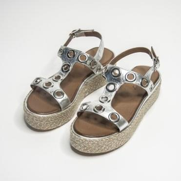 Inuovo T-bar Sandal With Rivets Silver