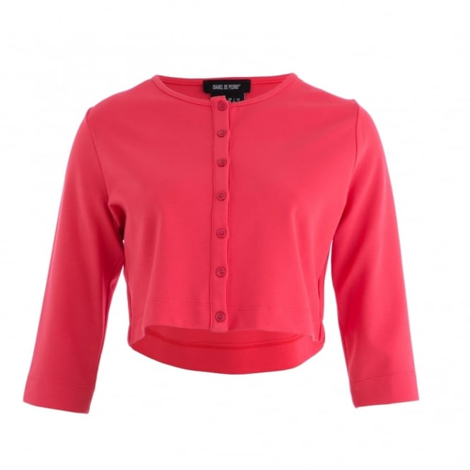 ISABEL DE PEDRO Button Front Cropped Knitted Jacket Cardigan in Bright Coral