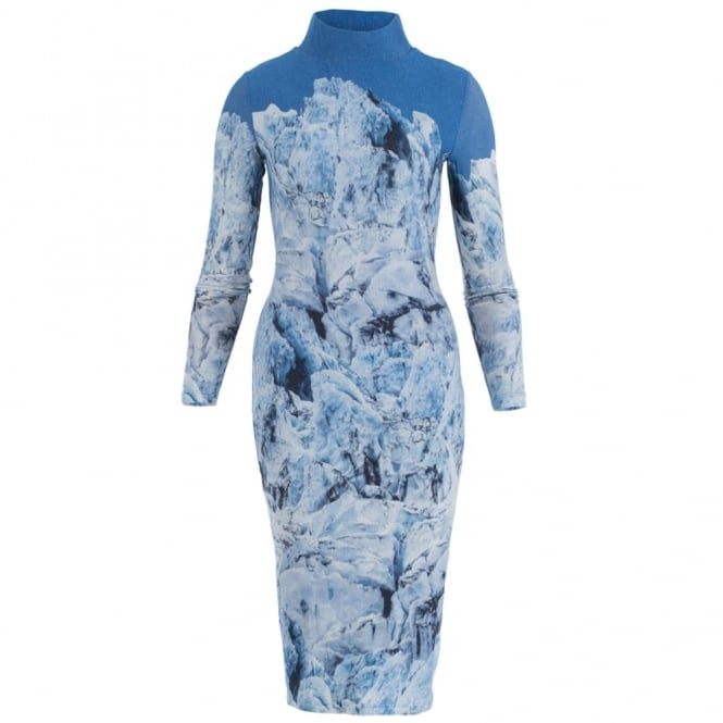 ISABEL DE PEDRO Polo Neck Dress With Cloud Print In Blue