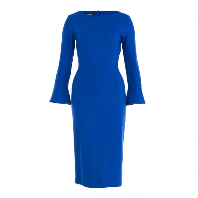 ISABEL DE PEDRO Slash Neck Fitted Dress With Flute Sleeve In Cobalt Blue