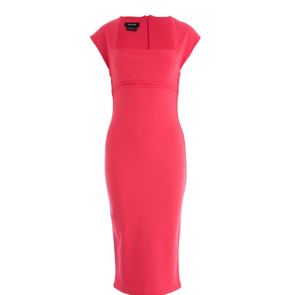 723df75402571 Isabel de Pedro Square Neck Cape Sleeve Fitted Midi Dress Coral