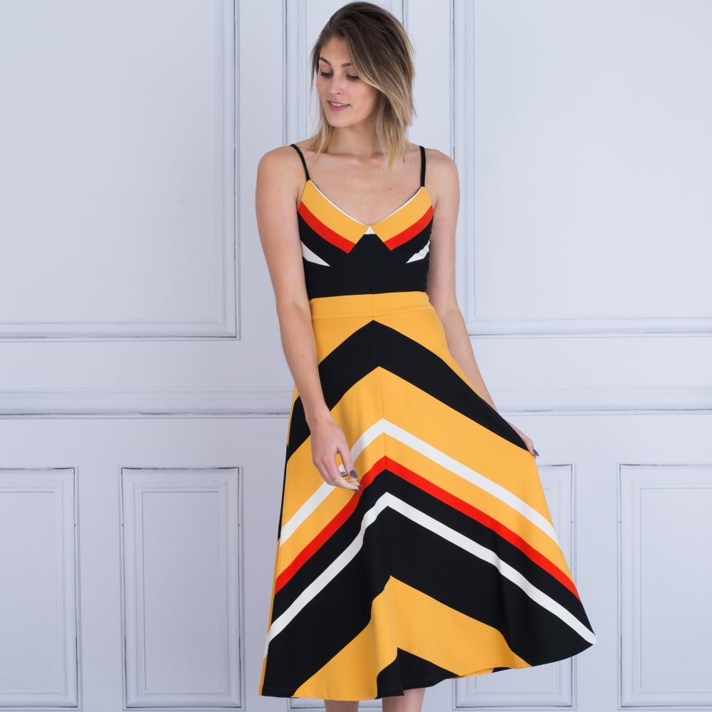 6bee358325 Isabel De Pedro 4510/VE600 Stripe Full Skirt Dress In Black/Yellow