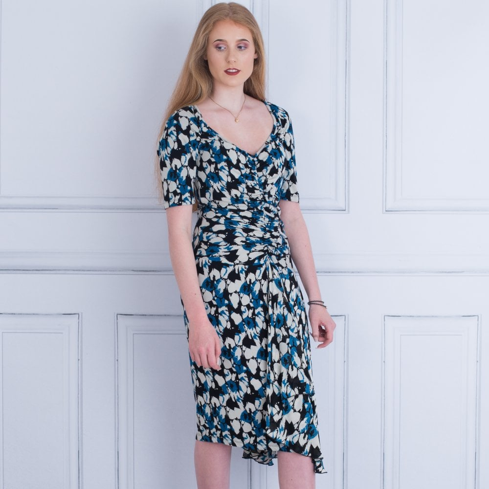 2ea26219 V Neck Rouched Front Short Sleeve Chiffon Front Dress In Blue & ...