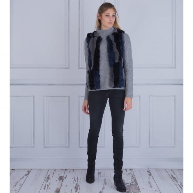 JAVIER SIMORRA Faux Fur Gilet With Knitted Back In Black, Grey & Blue