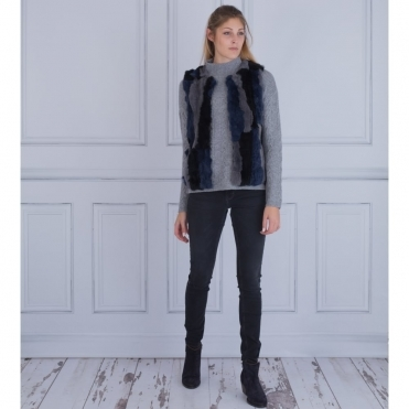 Faux Fur Gilet With Knitted Back In Black, Grey & Blue