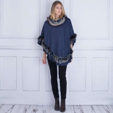 Jayley Silver Fox & Suedette Poncho In Navy