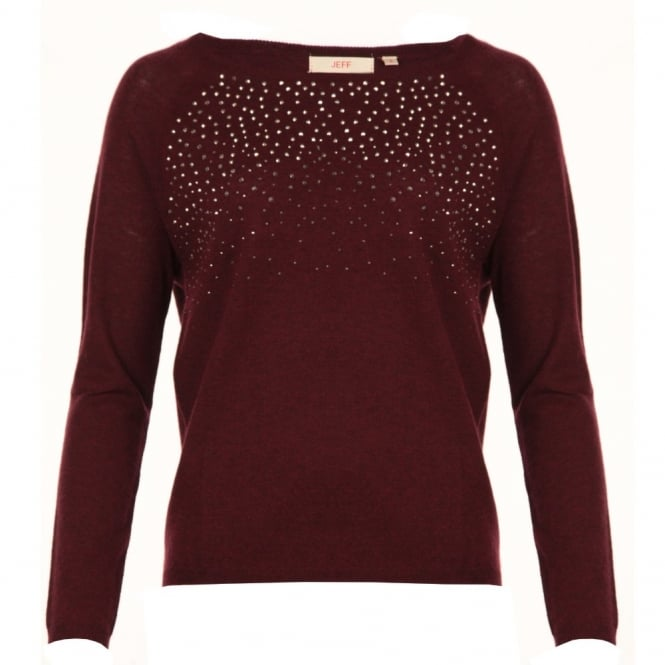 JEFF Studded Round Neck Knitted Jumper in Burgandy