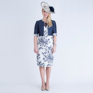039ce1e95b John Charles Floral Dress with Lace Mesh Detailed Top Navy/Cream