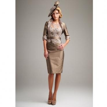 471e604663 Lace Front Dress and Bolero in Bronze. JOHN CHARLES ...