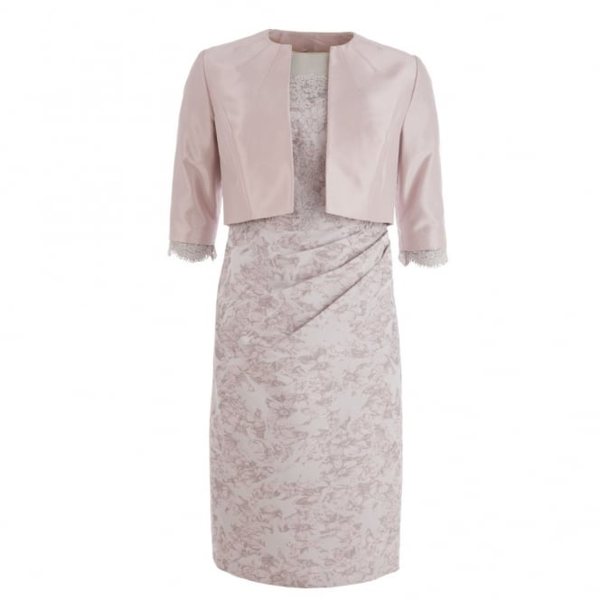 JOHN CHARLES Lace Mesh Jacquard Dress & Cropped Jacket in Dusky Pink