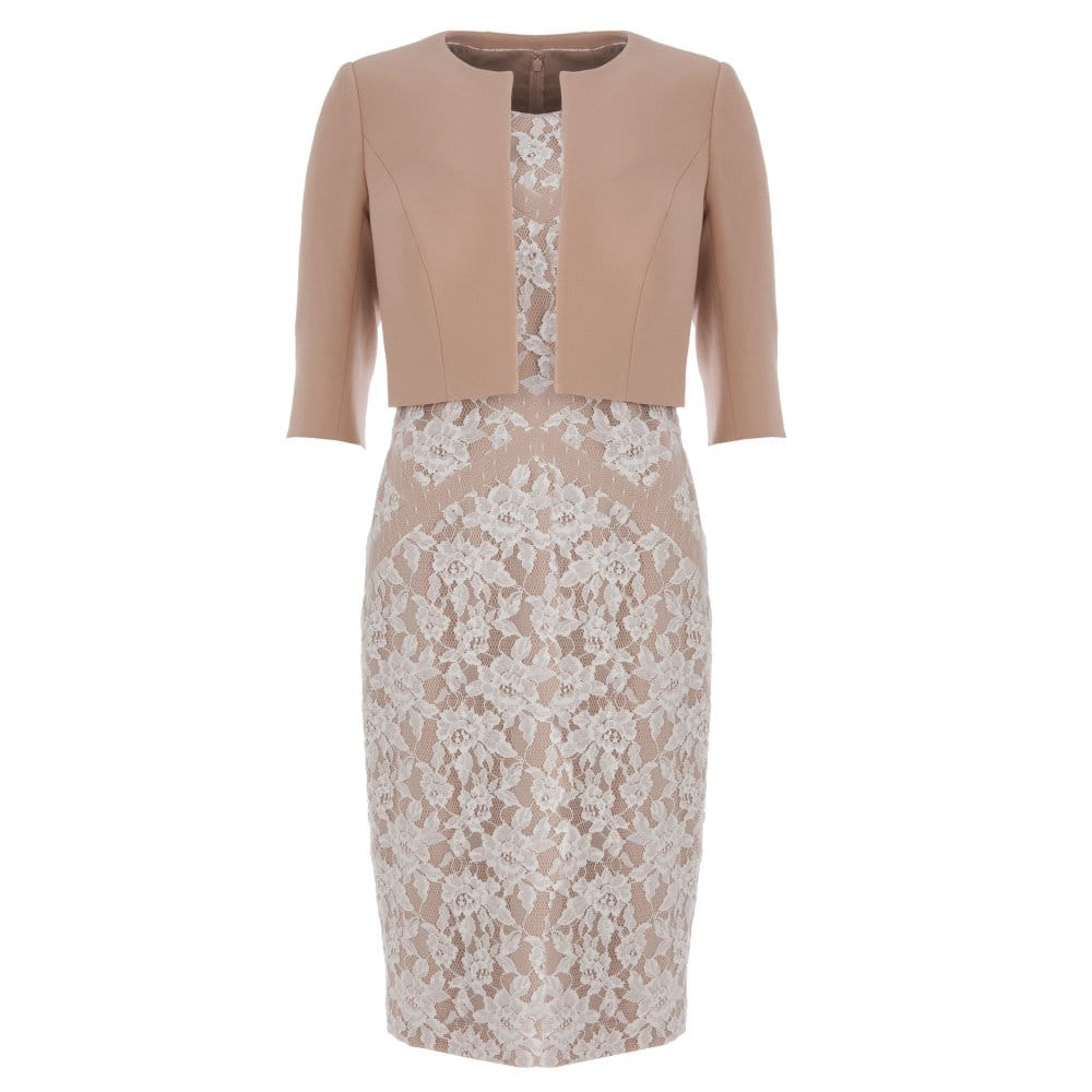 John Charles Lace Overlay Dress With Matching Crop Jacket In Latte