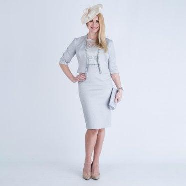 acaaa98ed3 John Charles Lace Top Dress & Jacket Silver