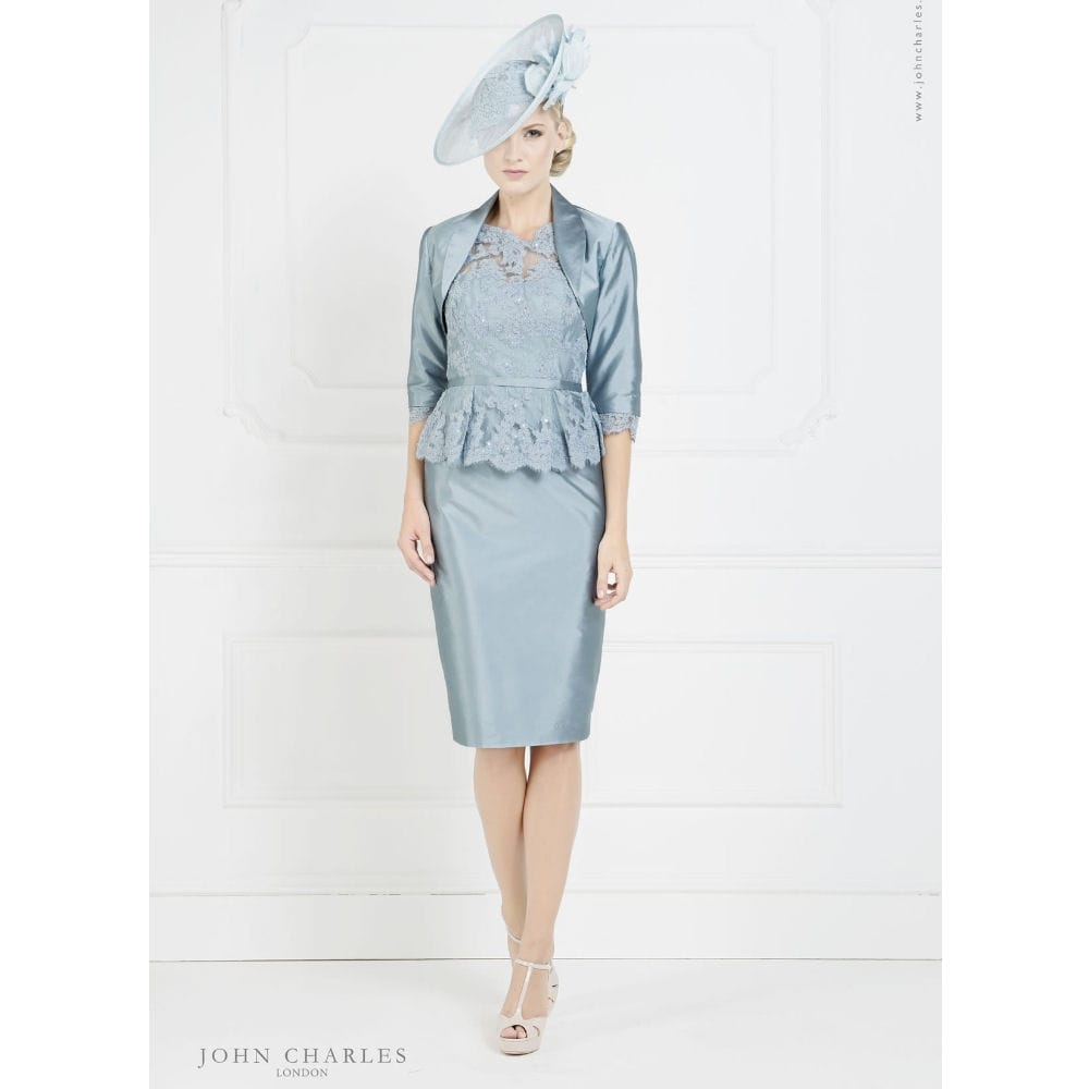 John charles Peplum Lace Dress and Bolero in Blue & Ivory