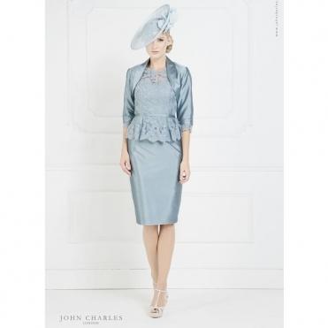 b67299ef08 Peplum Lace Dress and Bolero in Blue & Ivory. JOHN CHARLES ...