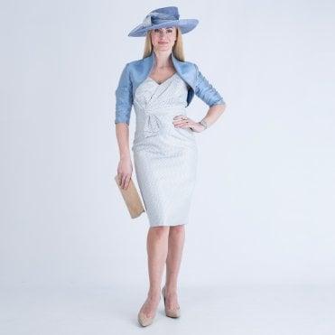 0e406f222db John Charles Polka Dot Bow Front Dress And Jacket Blue