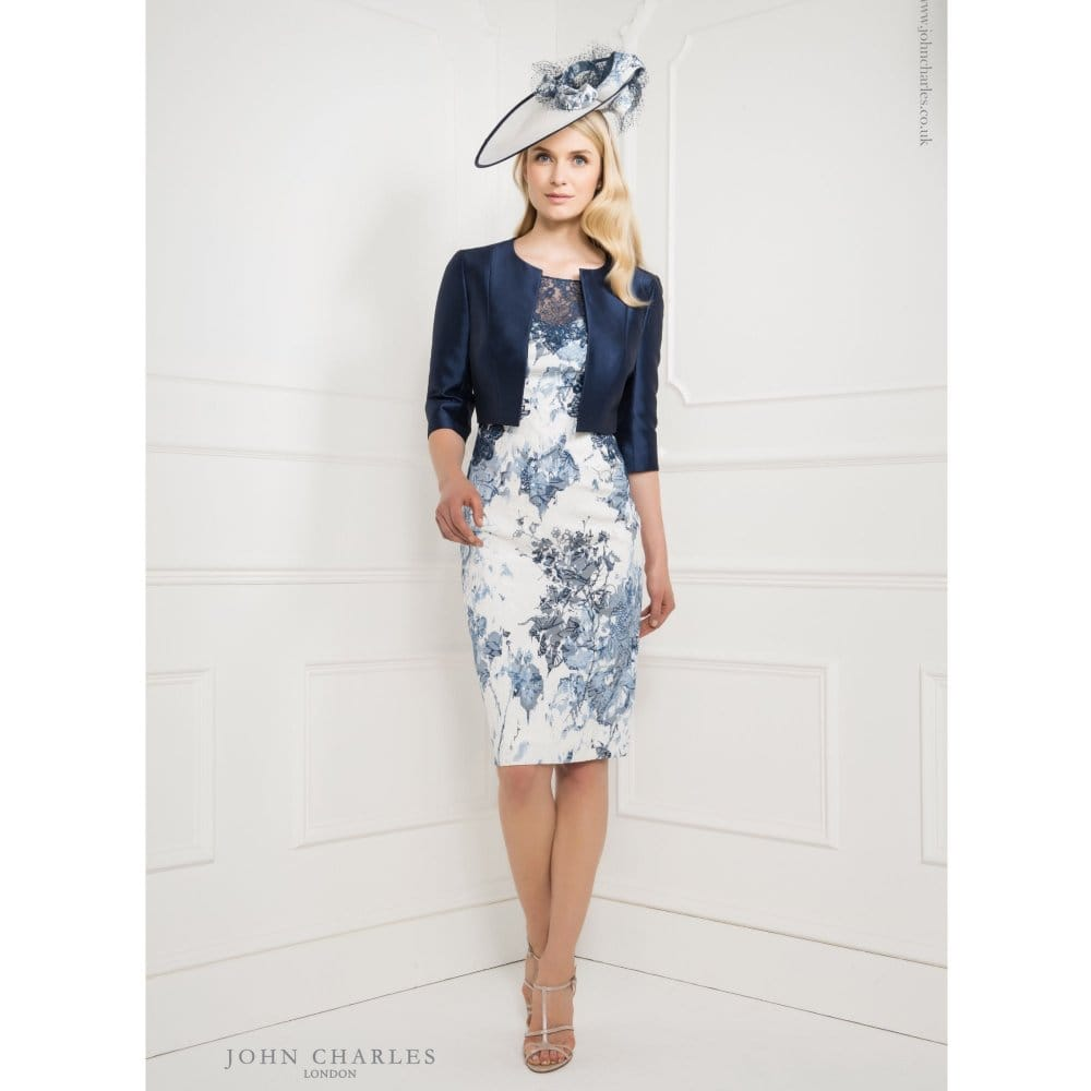 John Charles Printed Lace Top Dress with Matching Cropped ...