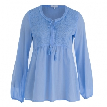 Cotton Gathered Back Tie Neck Blouse In Light Blue