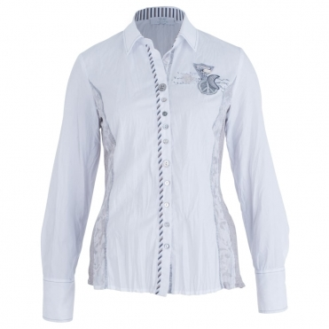 Cotton Shirt With Jersey Panel And Applique In White