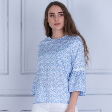Cotton Tie Back Heart Print Flute Sleeve In Light Blue & White