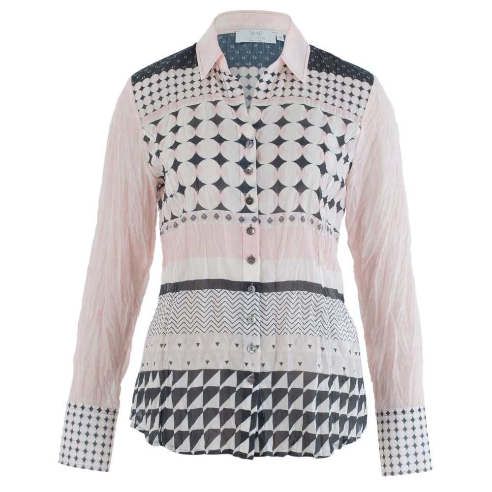7f2e63e7 JUST WHITE Crinkle Cotton Spot Print Shirt In Pink & Grey