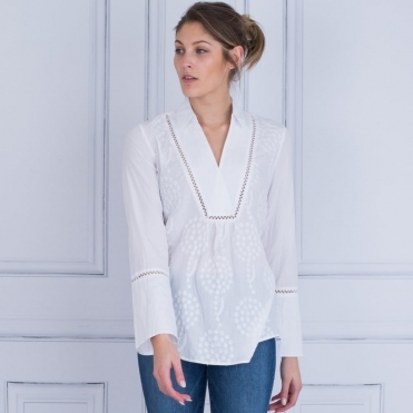 Embroided Boho Shirt With Collar & Bell Sleeves In White