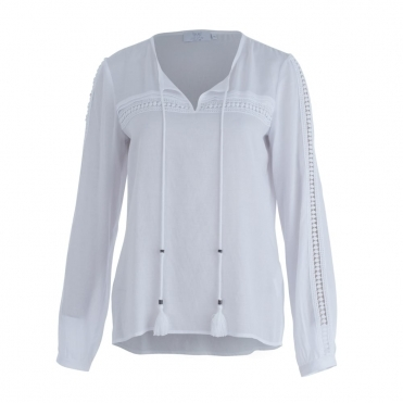 Embroided Detail Tie Front Blouse In White