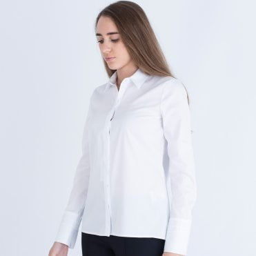 029d7e404f8 Just White Fitted Shirt With Pleat Cuff White