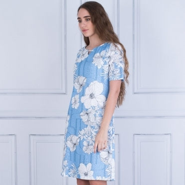 Floral Stretch Dress In Light Blue & White