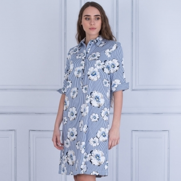 Floral Stripe Shirt Dress In Navy White