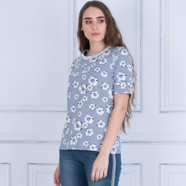 Floral Stripe T Shirt In White/Navy