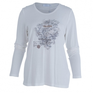 Jersey Round Neck Long Sleeve Top With Applique In Off White