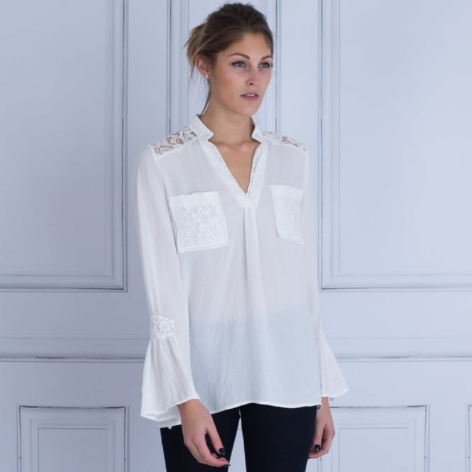 JUST WHITE Lace Shoulder Blouse With Flute Sleeve in Off White