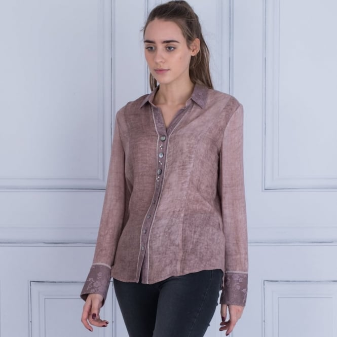 JUST WHITE Pigment Dyed Blouse In Mauve