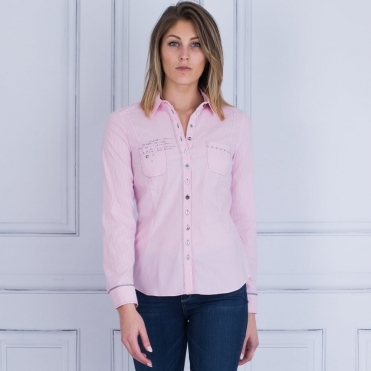 Stripe Fitted Stretch Embellished Shirt In Pink