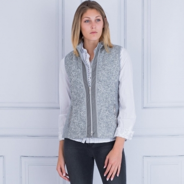 Just White Textured Gilet With Sequin Trim in Grey