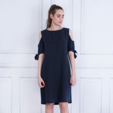Just White Tie Drop Cold Shoulder Cupro Dress Navy