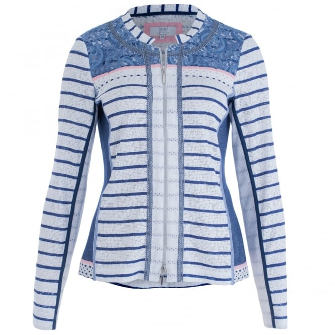 JUST WHITE Zip Front Stripe & Lace Jacket In Blue & White