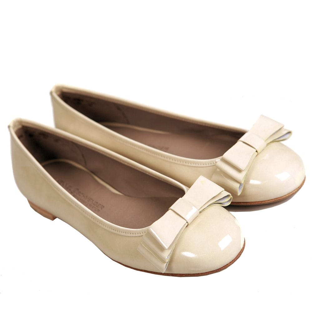 e8f652bc09c K   S Flat Patent Ballet Pump With Bow in Nude