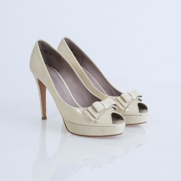 f7ca08cfdb0d K S Shoes Full Back Peep Toe Heel With Bow Nude
