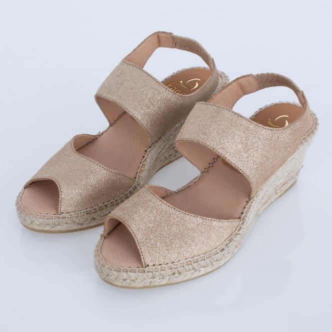KANNA Chanti Biscuit Double Strap Glitter Gold Wedge