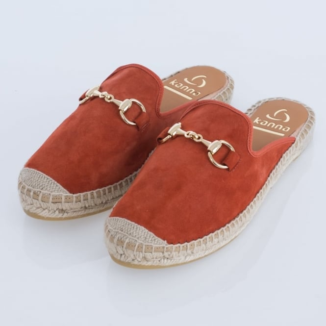 KANNA Dora Suede Slip On Espadrille In Orange