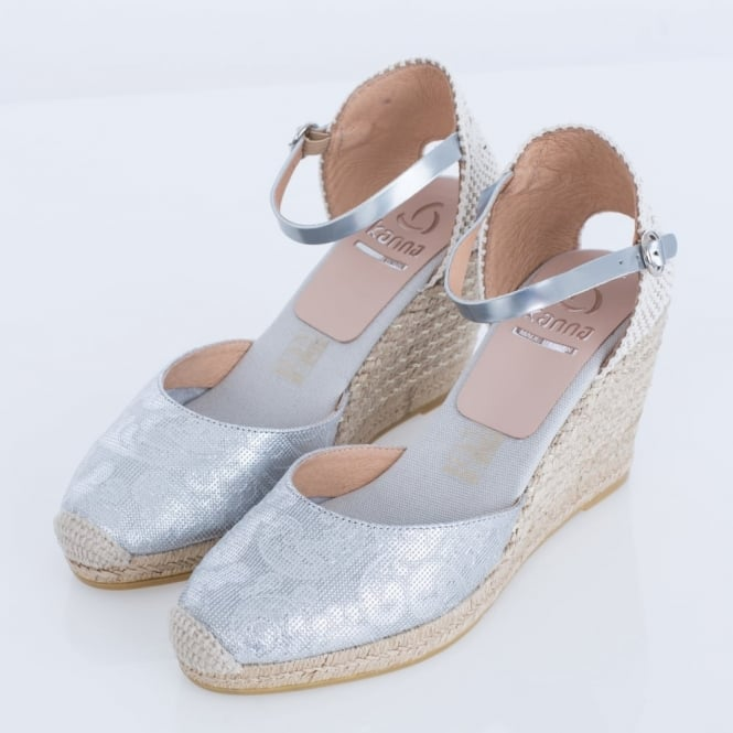 KANNA Evita Metallic Floral Jacquard Leather Espadrille Wedge In Silver