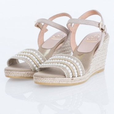 5183431f8882 Evita Taupe Pearl Strap Espadrille Wedge In Taupe