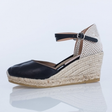 Luna Leather Classic Ankle Strap Wedge In Black
