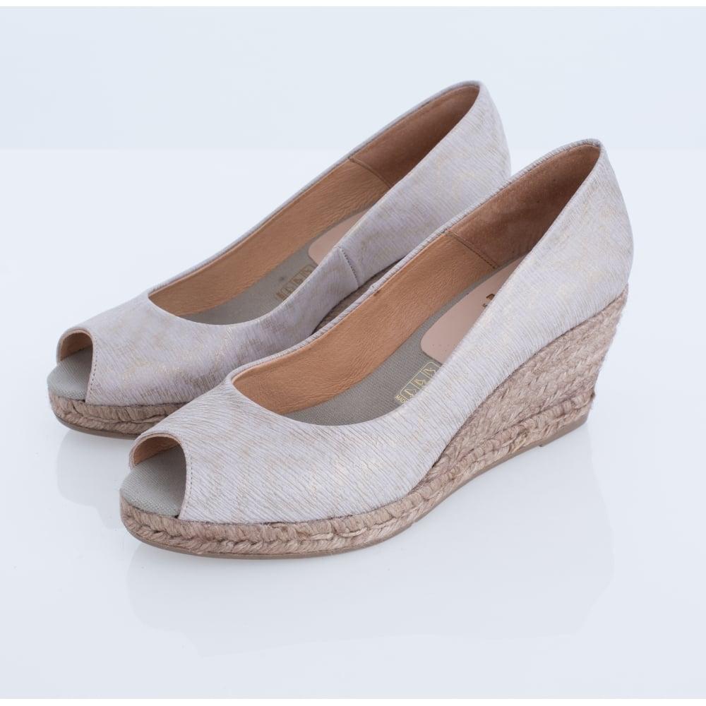 60f29bd46111 Kanna Luna KV1461 Metallic Peep Toe Mid-heel Wedge Espadrille In Bronze