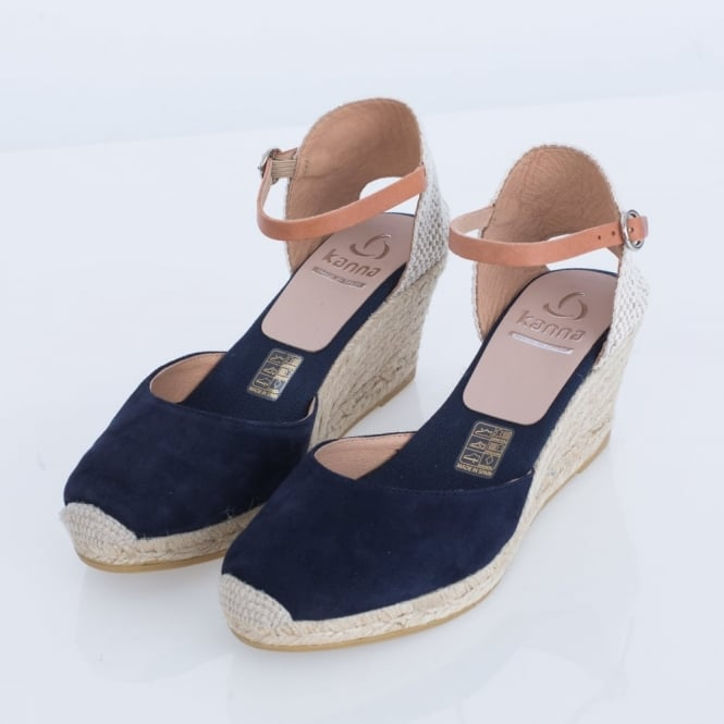KANNA Luna Suede Classic Ankle Strap Wedge In Navy