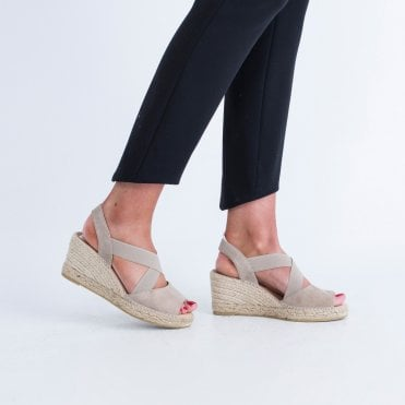 56d116572f57 Kanna Suede Low Wedge Espadrille With Elastic Cross Taupe