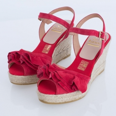 Vienna Suede Frill High Wedge With Ankle Strap In Red